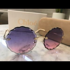 NWT Chloe Scalloped GOLD/VIOLET FUCHSIA Sunglasses